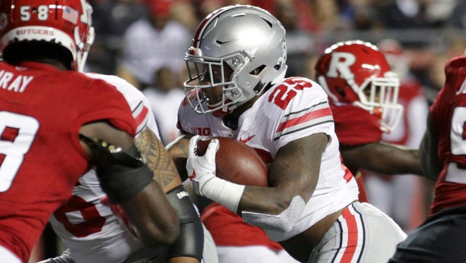 Ohio State running back Mike Weber (25) runs with the ball during an NCAA college football game against Rutgers Saturday, Sept. 30, 2017, in Piscataway, N.J. (AP Photo/Mel Evans)