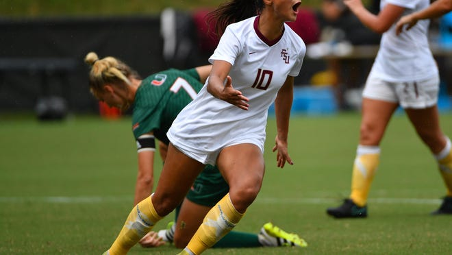 Florida State star Deyna Castellanos, seen here after scoring a goal last season, is keeping a watchful eye on the political unrest back home in Venezuela.