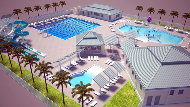 A rendering of the Eagle Lakes Community Park Aquatics Center targeted to open soon in East Naples.