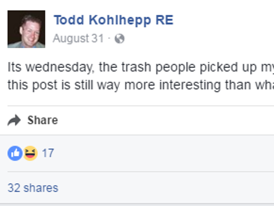 A status update from a Facebook profile under Todd