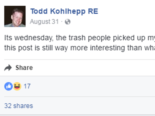 A status update from a Facebook profile under Todd Kohlhepp's name on Aug. 31, the day Kala Brown was last heard from before being found chained in a storage container on Kohlhepp's property on Nov. 3.