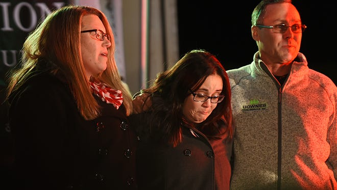 Kim Youmans (center) gets emotional during the Ridgewood Christmas tree lighting, which was dedicated to her late mother, BJ Youmans.