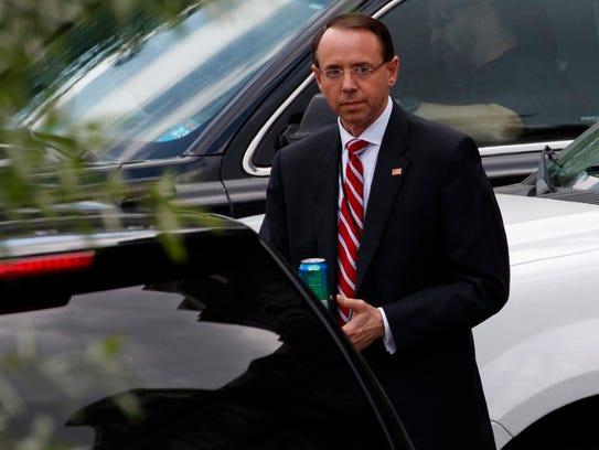 Deputy Attorney General Rod Rosenstein leaves the White