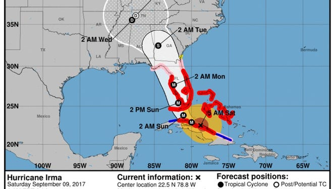 The National Hurricane Center's projected path for Hurricane Irma at 5 a.m. on Saturday, Sept. 9, 2017.