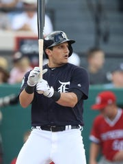 Tigers outfielder Mikie Mahtook bats during the Tigers' exhibition win over Florida Southern, 8-0, on Feb. 23, 2017, at Publix Field at Joker Marchant Stadium.