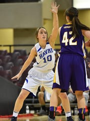 Dani Wagner, pictured playing for Havre in 2016, was recently named an All-Frontier Conference performer for the Carroll College women's basketball team.