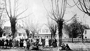 The Opelousas Ursuline Convent pictured on Convent Street in Opelousas during the late 1860s.