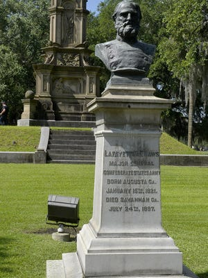 The Confederate memorial in Forsyth Park.