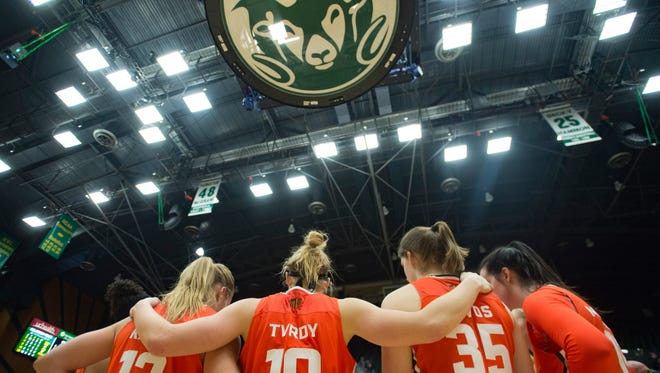 The CSU women's basketball team, shown huddling up after a 70-67 loss to Colorado last season at Moby Arena, opens its season with a home game at 7 p.m. Tuesday against Eastern New Mexico.