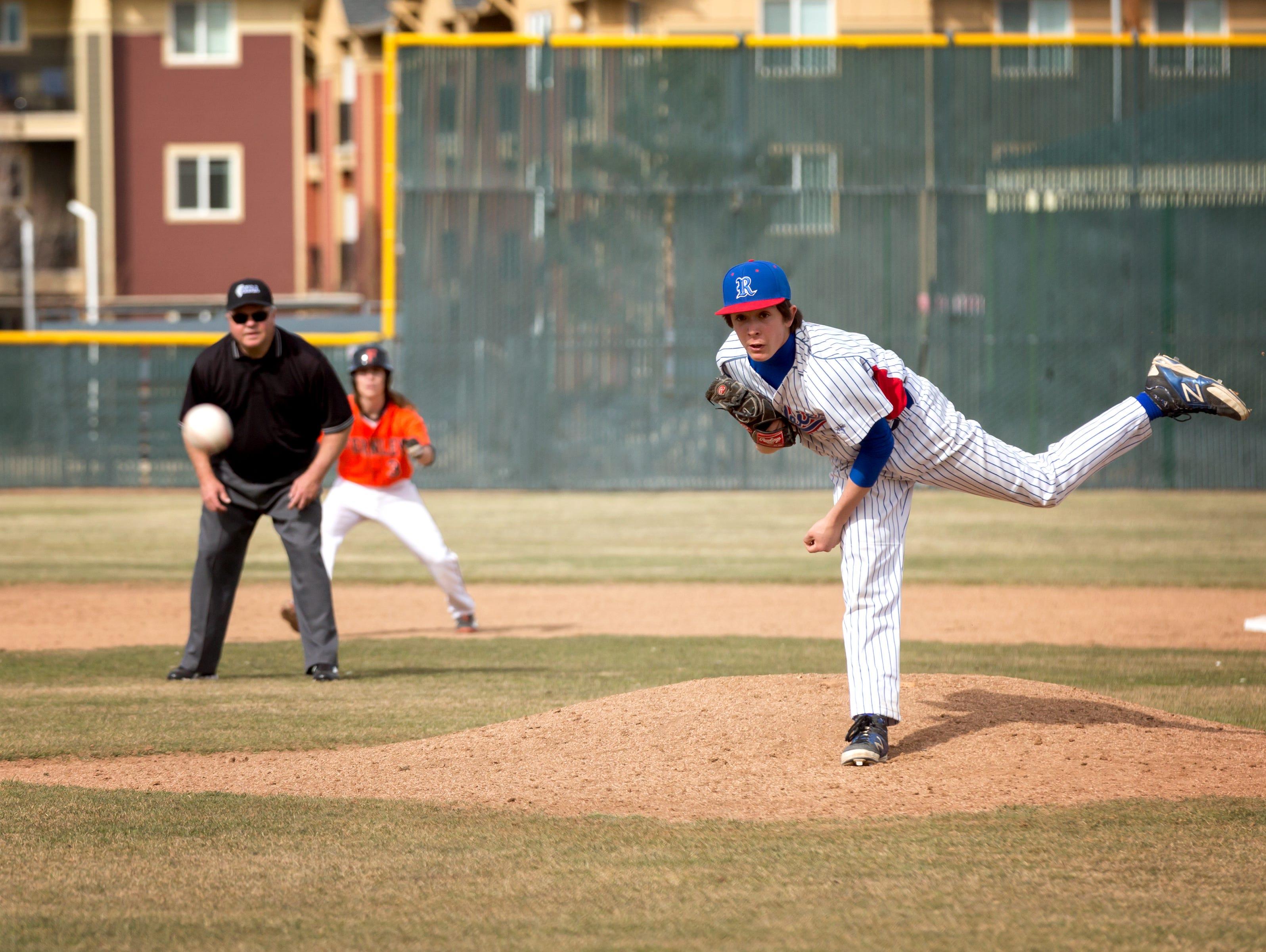 Reno senior Christian Chamberlamber pitches against Fernley last week.