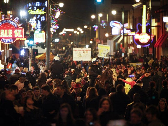 Beale Street in Memphis on New Year's Eve 2013.
