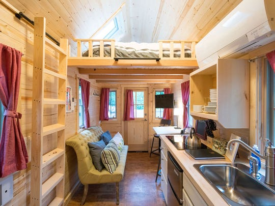 The inside of the tiny home in Mt. Hood, Oregon. The homes are often built for those who wish to have a minimalist lifestyle.