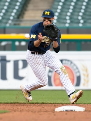 Lakeview graduate Jake Bivens, here playing shortstop for the Michigan Wolverines, was drafted by the Detroit Tigers in the 2017 MLB Draft.