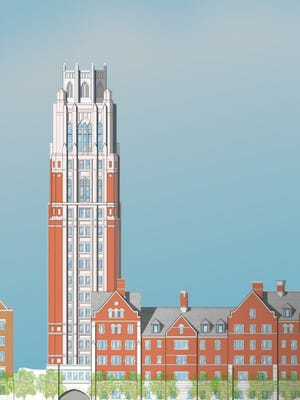 A preliminary rendering of the 20-story tower Vanderbilt plans at 2417 West End Ave.