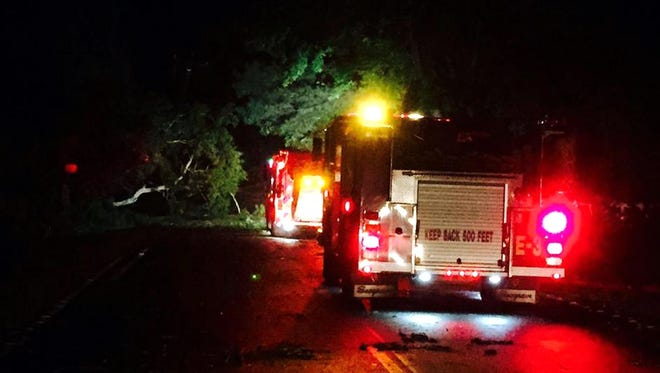 This photo provided by WCSC-TV shows fire trucks in Johns Island, S.C.