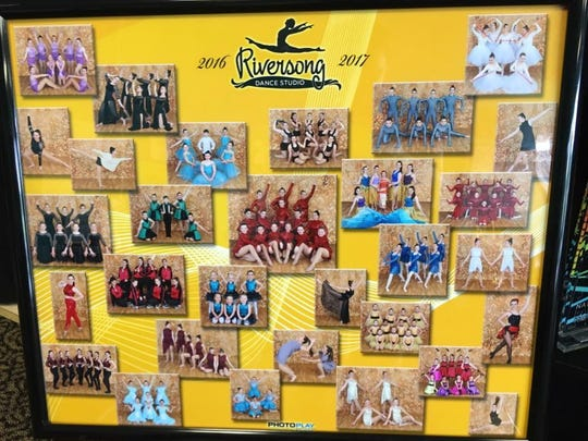 Professional group photos are on display at the studio.