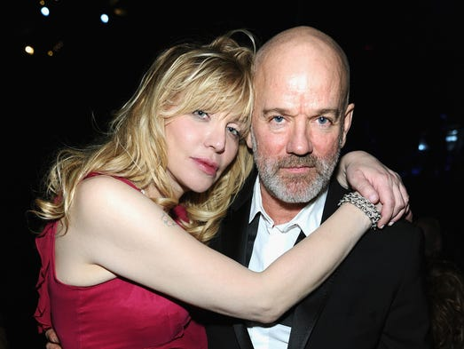 At the 2014 Rock and Roll Hall of Fame induction ceremony Thursday, music legends and stars came together at the Barclays Center in Brooklyn, N.Y. <br /><br />Courtney Love, Kurt Cobain's widow, and R.E.M. frontman Michael Stipe, who was a friend of Cobain, share a moment.