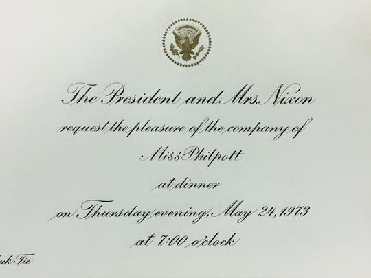 Monnie Lutz, then Philpott, was invited to a White House black tie dinner that honored returning POWs. The dinner was held May 24, 1973.