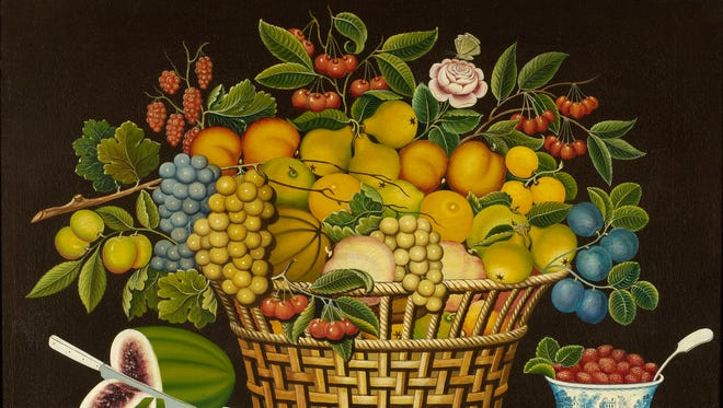 Unidentified Artist, United States, Still Life with Basket of Fruit, 1830–50, oil on canvas, 24 ¼ x 29 ½ in. (50.2 x 42.2 cm).