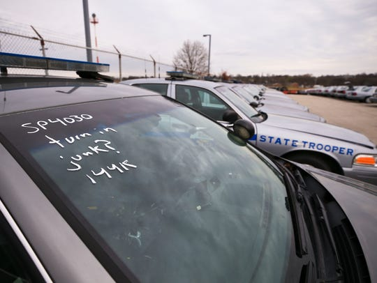 "This aging state police cruiser was marked as ""JUNK"" by the mechanic. But Kentucky State Police will likely assign it to a trooper due to a car shortage."