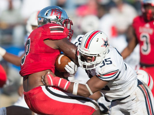Northwest Mississippi's Keith Brown Jr. tackles East