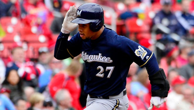 """Carlos Gomez , here rounding third base after a home run Wednesday, says the Milwaukee Brewers are """"here to make the World Series."""""""