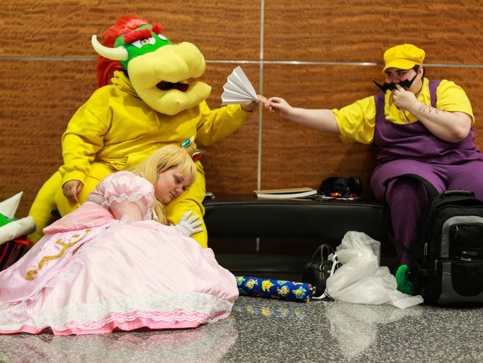 """Super Mario Brothers"" cosplayers Holly Hicks of Roseville,"
