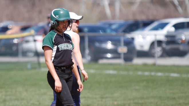 Yorktown's Angie Serrano was stranded on second in the sixth inning of a 3-0 loss to John Jay-East Fishkill during varsity softball action at John Jay High School in Hopewell Junction on Tuesday, April 11, 2017.