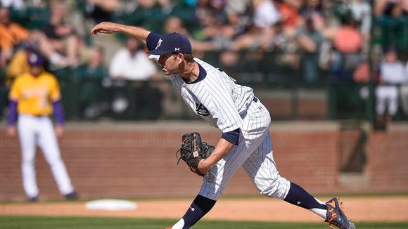 Auburn relief pitcher Marc Frazier pitched the final two innings of Auburn's 10-5 loss to No. 14 LSU on April 3, 2016.