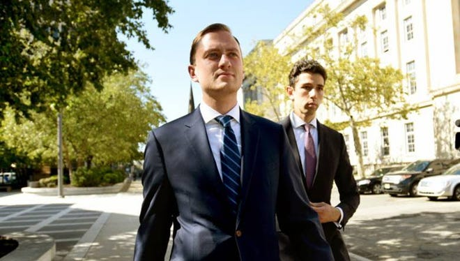 Matt Mowers, left, former Governor Chris Christie staffer, leaves Martin Luther King Jr. Federal Courthouse on Day 4 of the Bridgegate trial.