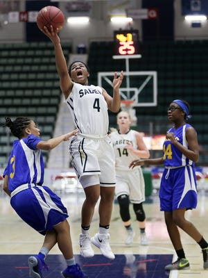 Susquehanna Valley's Trinasia Kennedy drives to the basket during Class B final at the Federation Tournament of Champions.