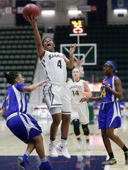 Susquehanna Valley's Trinasia Kennedy drives to the basket during Sunday's Class B final at the Federation Tournament of Champions.