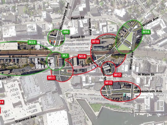 A map indicating the 10 locations downtown that will