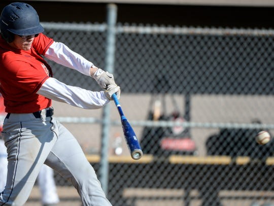 Lebanon's Cody Kissinger looks to connect on a pitch