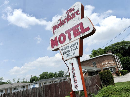 The Modernaire Motel, located in the 3300 block of East Market Street, is included in the parcels that a developer wants to change into a shopping center.
