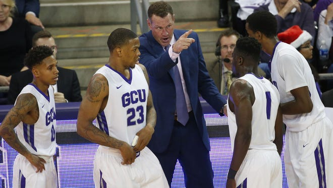 GCU head coach Dan Majerle directs his team against San Diego State during the second half at GCU Arena in Phoenix, Ariz. December 7, 2016.