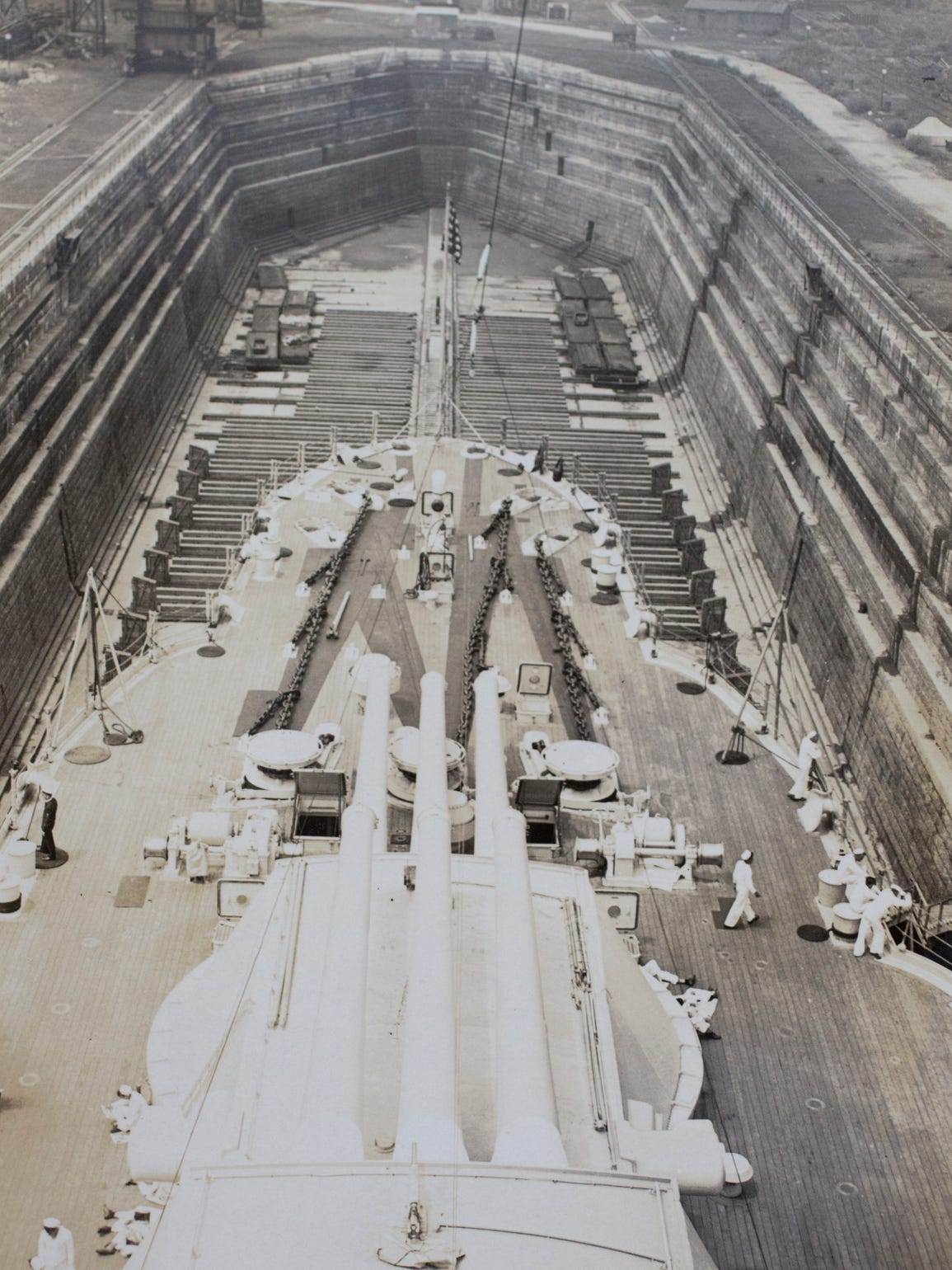 The USS Arizona in dry dock, seen from above.