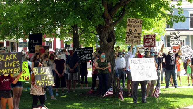 A mostly-white audience of supporters came out June 4 for the peaceful and socially-distanced Black Lives Matter Protest on the Village Green in Hamilton. The event was organized by the Hamilton Area Anti-Racism Coalition.