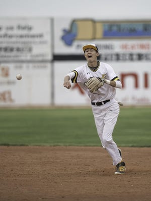 Pueblo East's Kyle Miller throws the ball to first base after fielding a grounder against Pueblo Centennial on May 7, 2019, at Hobbs Field in the Runyon Sports Complex.