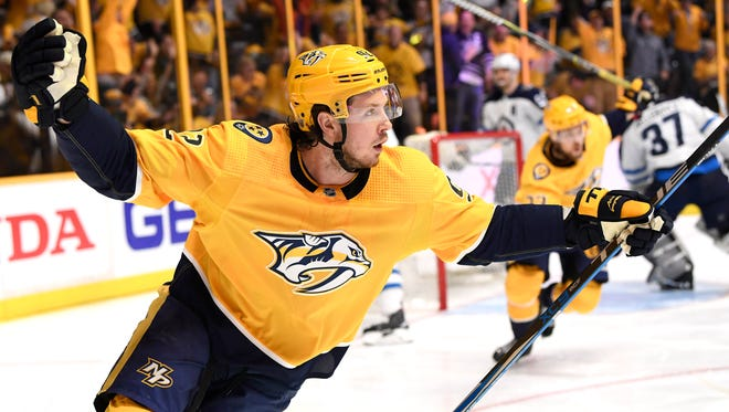 Predators center Ryan Johansen (92) celebrates his first goal early in the first period in Game 2 of the second round NHL Stanley Cup Playoffs at the Bridgestone Arena Sunday, April 29, 2018, in Nashville, Tenn.