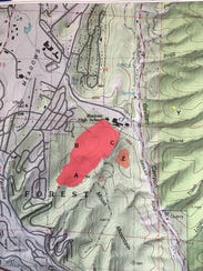The red zone is the main burn area. The smaller brown