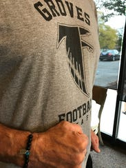 Groves High School varsity football coach Brendan Flaherty