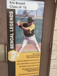 A banner of Kris Bryant at his high school in Las Vegas.