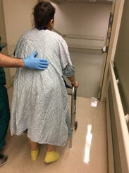 Kayse Holmes Rice walks for the first time after her