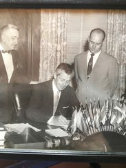 Florida Gov. Leroy Collins signs Walter Sheppard's