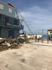 A view of hurricane damage at the Cruz Bay ferry dock