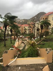 Stairs to the Fiorettis' room after Hurricane Irma.