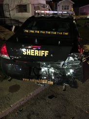 An Oakland County Sheriff's Office patrol car was damaged