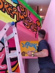 """The colorful selfie mural by Justin Pierce at """"The"""