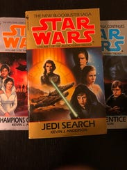 """A photo of """"The Jedi Academy Trilogy"""" by Kevin J. Anderson, including """"Champions of the Force,"""" """"Dark Apprentice"""" and """"Jedi Search."""""""